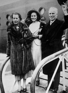 Paulette Goddard and Charlie with Paulette's mother.