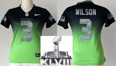 Women Nike Seattle Seahawks 3 Russell Wilson Blue Green Drift Fashion II Elite 2014 Super Bowl XLVIII NFL Jerseys