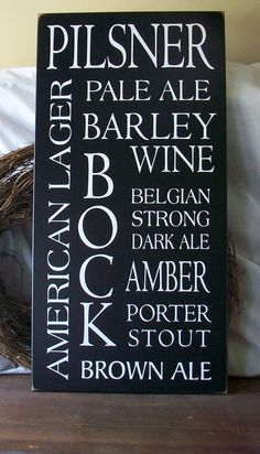 Wood Sign Kinds of Beer Typography Wall Decor by CountryWorkshop, $60.00