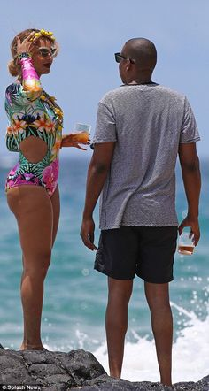 Beyonce slays in colourful one-piece swimsuit as she shows PDA with Jay Z in Hawaii Beyonce Style, Beyonce And Jay Z, Beyonce Body, Bikinis, Swimsuits, Swimwear, Afro, Blue Ivy Carter, Carter Family