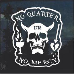 Blackbeard No Quarter Window Decal Sticker – Custom Sticker Shop Disney Cartoon Characters, Disney Cartoons, Truck Stickers, Custom Stickers, Pirate Flag Tattoo, Pirate Quotes, Arcane Trickster, No Quarter, Pirate Life