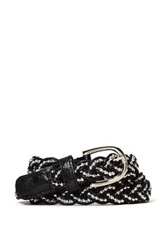 This mega cute belt has a braided design with interweaving beading detail and faux leather trim.