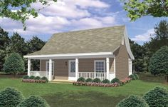 Cottage Country Farmhouse House Plan 59096 - wonder why it looks like there's an upstairs but there's not one on the plans? Cottage Style House Plans, Cottage Floor Plans, Cottage Style Homes, Country House Plans, Tiny House Plans, Country Farmhouse, House Floor Plans, Cottage Plan, Small House Plans Under 1000 Sq Ft