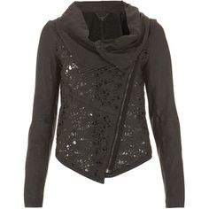 Muubaa Black Laser Cut Leather Jacket