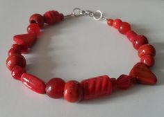 Handmade Recycled Red Glass and Ceramic Bead by JustJoJewellery, £6.00