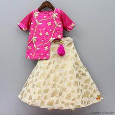 Pink cream lehenga choli by little muffet Kids Indian Wear, Kids Ethnic Wear, Wedding Dresses For Girls, Little Girl Dresses, Girls Dresses, Frocks For Girls, Kids Frocks, Cool Kids Clothes, Kids Clothing