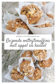 Life changing ontbijtmuffins met appel en kaneel – Little Spoon Healthy breakfast muffins with apple and cinnamon. A tasty and healthy breakfast or snack. Healthy Baking, Healthy Desserts, Healthy Recipes, Low Carb Recipes, Muffins Sains, Food Porn, Healthy Breakfast Muffins, Tasty, Yummy Food