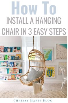 Our hanging rattan chairs in our playroom, plus a tutorial on how to hang chairs from the ceiling. These Serena & Lily rattan hanging chairs are perfect! Hanging Hammock Chair, Hanging Chairs, White Kids Room, Chrissy Marie, Colorful Playroom, Rattan Chairs, Coastal Homes, Beautiful Interiors
