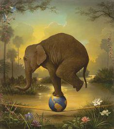 elephant surreal painting by kevin sloan Elephant Love, Elephant Art, Elephant Stuff, Circo Vintage, Surrealism Painting, Painting Art, Painting Tips, Abstract Paintings, Art Paintings