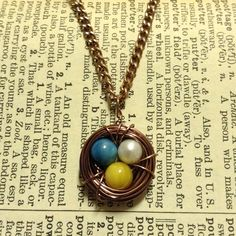 HANDMADE Copper Bird's Nest Necklace with Blue, Yellow & Pearl Eggs ($15)