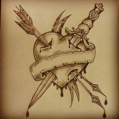 Arrow Through Heart Skull Tattoo photo - 3