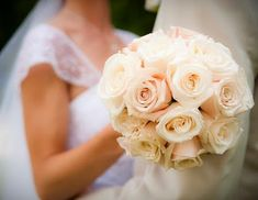 Brides bouquet. Ivory and tones of blush. No greens