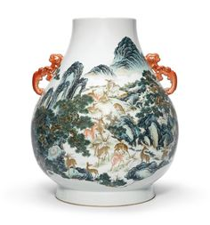 A famille-rose 'Hundred Deer' vase, Qianlong seal mark and period