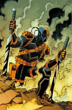 Deathstroke #17 by John Romita Jr., inks by Scott Hanna, colours by Dave McCaig *