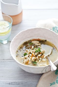 LF - lemon, chicken and orzo soup - omit the onion (could infuse the oil) and use homemade, LF broth.