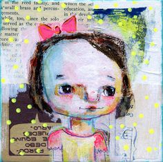 Ava  5x7- mixed media art print by Mindy Lacefield