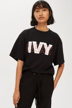 Womens Layer Logo Oversized T-Shirt by Ivy Park - Black T Shirt Painting, Topshop Outfit, Topshop Clothing, Latest T Shirt, Tee Shirt Designs, Apparel Design, Aesthetic Fashion, Shirt Style, Ivy Park