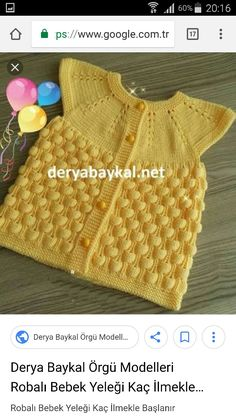 """diy_crafts- HUZUR SOKAĞI (Yaşamaya Değer Hobiler) For Girls, Tissues """"This post was discovered by Zeh"""", """"Discover thousands of im Girls Sweaters, Baby Sweaters, Baby Knitting Patterns, Baby Fur Vest, Crochet Baby, Knit Crochet, Vest Pattern, Mellow Yellow, Baby Girl Dresses"""
