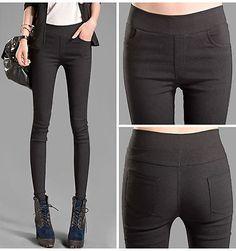 Para Mujer Slim Pantalones Stretch cintura alta, Skinny Leggings de lápiz Pantalones