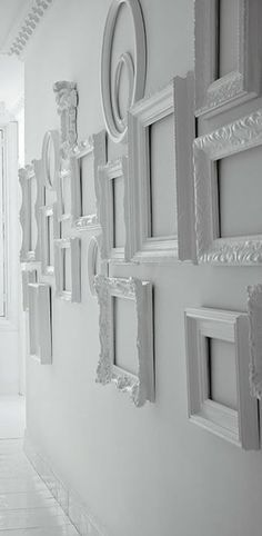 Feeling creative in your home? Take a look at this empty wall of frames.  ----------- #gallery #wall #diy #tips #ideas #picture #frames #art #decorations