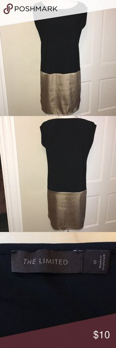 NWOT Women's Limited Black and Gold Dress Nice stretchy, soft dress. Purchased but never wore. I decided I didn't like the way it laid in my hips (I have wide hips). It's a great dress for someone that has a straighter figure. Knee highs dress it up and are super cute. The Limited Dresses Midi