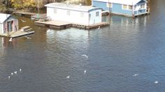 Boat houses on the Mississippi River at LaCrosse