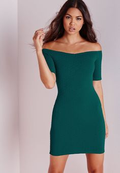 Missguided - Textured Bardot Bodycon Dress Teal