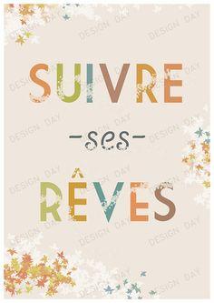 Affiche+typographique,+citation+:+Suivre+ses+rêves+de+DesignDay+sur+DaWanda.com