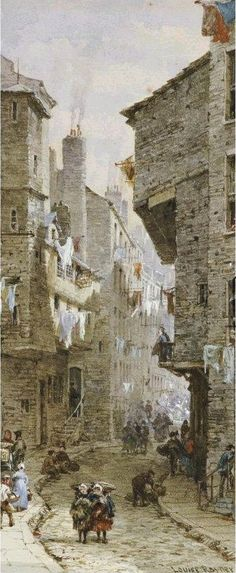 Sometimes referred to as Street scenes in Edinburgh but more properly known as Houses in the West Bow - by Louise Rayner 1832-1924