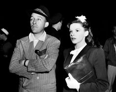 "Singer-actor Bing Crosby, left, visits singer-actress Judy Garland on the set of ""The Harvey Girls"" in Hollywood, Ca., in 1945. Photo: (AP Photo)"