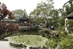 garden in Suzhou, China. Suzhou became the center of traditional chinese gardens that were highly cultivated like this one during the Ming Dynasty.