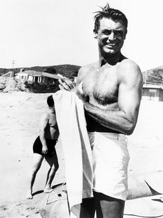 Cary Grant at the beach, c. late 1940s.