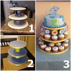 42 Ideas Diy Wedding Cake Stand Round Dollar Stores For 2019 Cupcake Tier, Cake And Cupcake Stand, Cupcake Display, Cupcake Cakes, Lemon Cupcakes, Strawberry Cupcakes, Cup Cakes, Cupcake Stand Wedding, Diy Wedding Cake