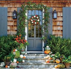 Incorporate White Pumpkins - Pumpkin Ideas for Your Front Door - Southern Living White Pumpkins, Painted Pumpkins, Fall Pumpkins, Autumn Decorating, Porch Decorating, Decorating Ideas, Decor Ideas, Autumn Scenes, Pumpkin Wreath
