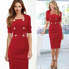 2014 New Cutest 2014 Women Pinup Square Neck Tunic Wear to Work Party Sheath Bodycon Shift Dress