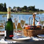 A lovely country-style picnic with all the trimmings overlooking School Rythe in Bosham – part of Chichester Harbour.