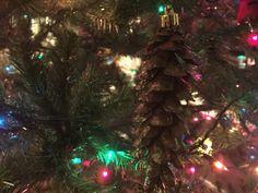 2015 burgundy with green sparkles pine cone ornie