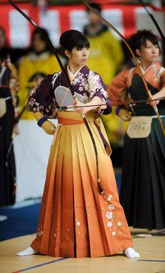 "Kyudo, Kimono - ""Kyudo"" is the martial arts of the Japanese archery. Japanese Beauty, Asian Beauty, Japanese Lady, Furisode Kimono, Art Japonais, Japanese Outfits, Japanese Clothing, Japanese Kimono, Japanese Temple"