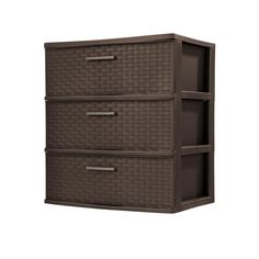 3-Drawer Plastic Wide Weave Tower in Espresso (Brown)