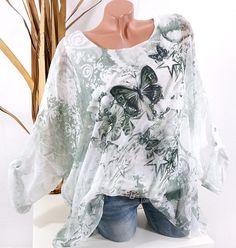 Glitzer Italy Nieten Tunika Bluse Büro Business Shirt Top*Blau* M L XL-38 40 42