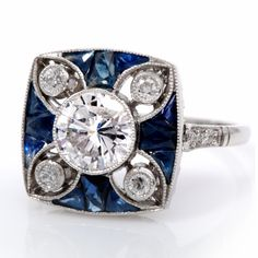 yassss. Vintage Deco 3.15 ct Diamond Sapphire Platinum Ring | Dover Jewelry