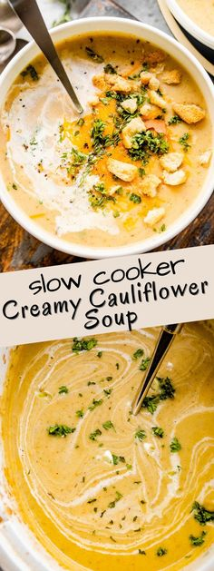 This comforting, blended Slow Cooker Creamy Cauliflower Soup is full of nutritious cauliflower and root veggies, and flavored with earthy herbs and rich cheddar cheese! It's the perfect cozy meal for a chilly night, and so easy to make. Just set it and forget it in your slow cooker! #cauliflowerrecipes #slowcookerrecipes #cauliflowersoup