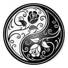 Yin Yang Roses, black Classic Round Sticker