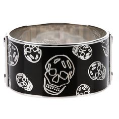 ALEXANDER MCQUEEN 'Skull' bangle ($225) ❤ liked on Polyvore featuring jewelry, bracelets, hinged bracelet, alexander mcqueen bangle, skull jewelry, skull bangle bracelet and skull jewellery
