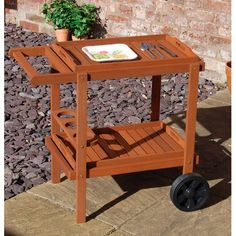 Wheeled Wooden Garden Trolley with Removable Trays