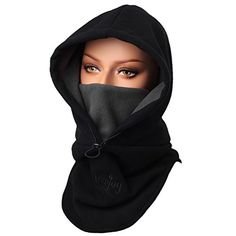 Purjoy Warm Thickening Fleece Balaclava Full Face Mask Hats Neck Warmer Outdoor Winter Sports(Black) >>> You can find out more details at the link of the image.