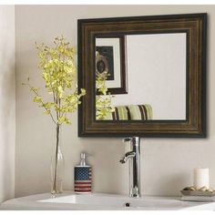Rayne Black Superior Square Wall Mirror, Bronze