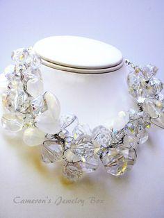 Chunky Wedding Statement Necklace Ice by CameronsJewelryBox, $50.00