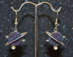 Titanized Druzy Quartz and Moonstone Planetismal Earrings - Choose a Size!