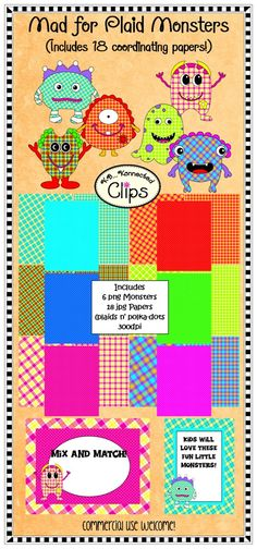 Mad 4 Plaid Monsters! Includes 18 coordinating papers (plaids and polka-dots) $ http://www.teacherspayteachers.com/Product/Mad-4-Plaid-Monsters-includes-coordinating-papers-739842